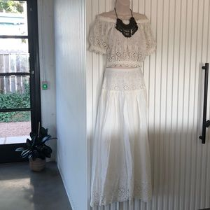 🌸Spell🌸 White Lacey Skirt with Side Slits